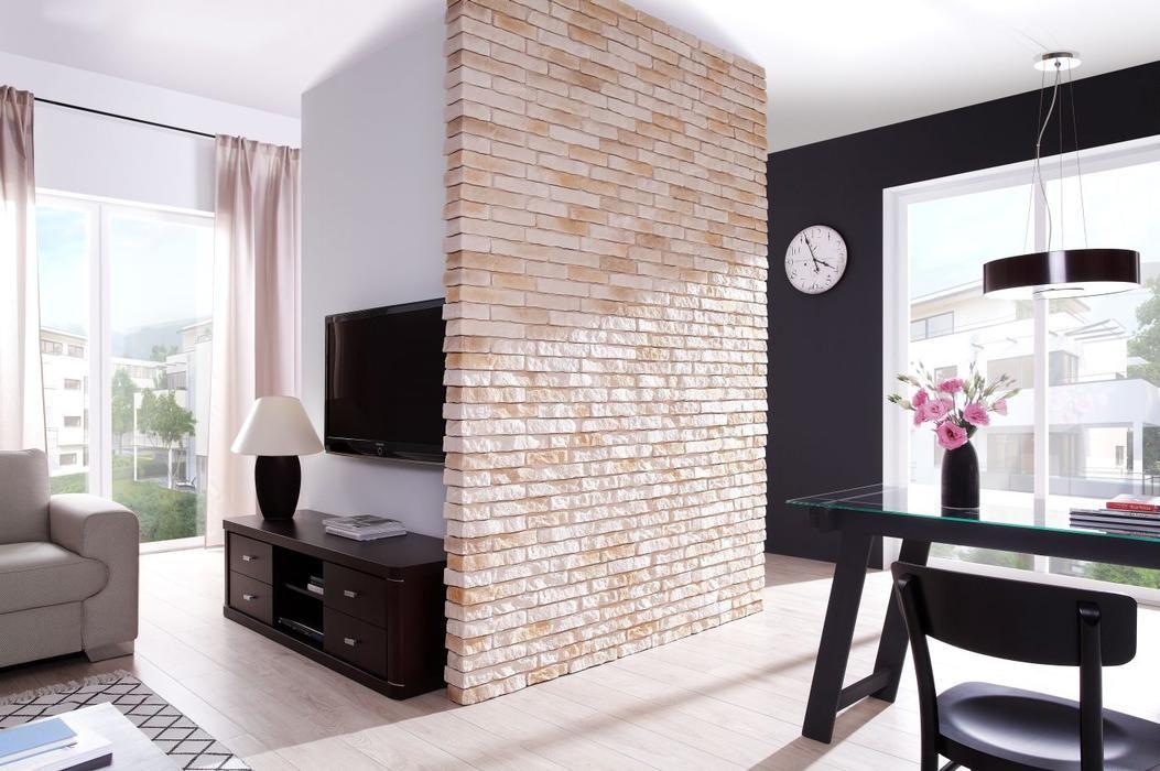 imitacja cegły w salonie