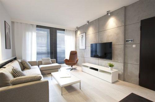 Płyty Betonu Architektonicznego SILESSIA na ścianie w Salonie - Producent firma LA DECOR